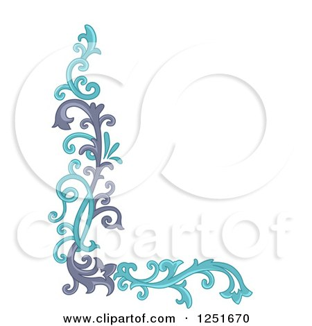 Clipart of a Purple and Blue Ornate Floral Corner Border - Royalty Free Vector Illustration by BNP Design Studio