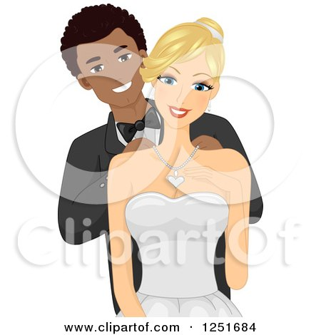 Clipart of a Handome Black Man Putting a Necklace on His White Wife - Royalty Free Vector Illustration by BNP Design Studio