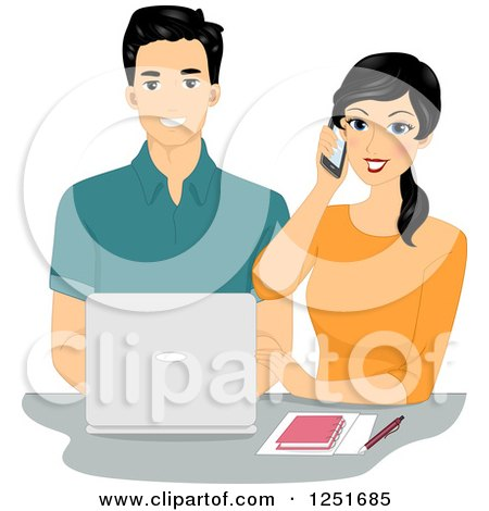 Clipart of a Happy Couple Working Together with a Laptop and Cell Phone - Royalty Free Vector Illustration by BNP Design Studio