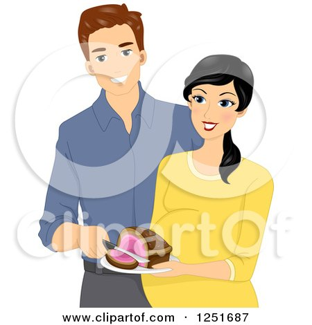 Clipart of a Happy Expecting Couple Revealing the Gender of Their Baby As a Girl with a Pink Cake - Royalty Free Vector Illustration by BNP Design Studio