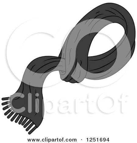Clipart of a Man's Black Shawl - Royalty Free Vector Illustration by BNP Design Studio