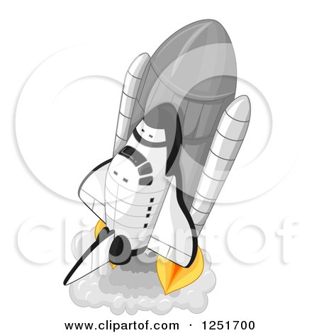Clipart of a Launching Rocket - Royalty Free Vector Illustration by BNP Design Studio