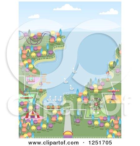 Clipart of a Coastal Theme Park - Royalty Free Vector Illustration by BNP Design Studio