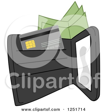 Clipart of a Black Wallet with Cash and a Credit Card - Royalty Free Vector Illustration by BNP Design Studio