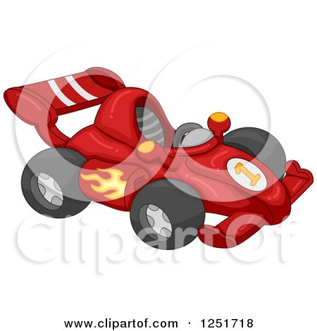 Clipart of a Red Race Car - Royalty Free Vector Illustration by BNP Design Studio