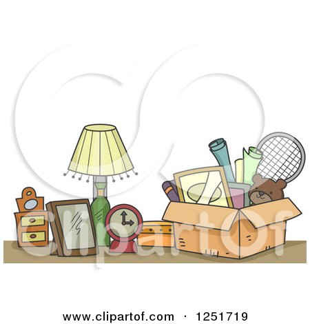 Clipart of Items Ready to Be Donated - Royalty Free Vector Illustration by BNP Design Studio