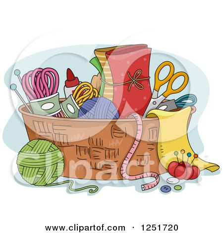 Clipart of a Basket of Rug Hooking Accessories - Royalty Free Vector Illustration by BNP Design Studio