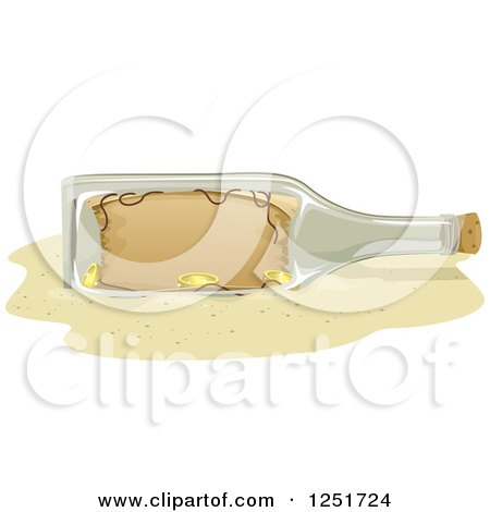 Clipart of a Treasure Map in a Bottle on a Beach - Royalty Free Vector Illustration by BNP Design Studio
