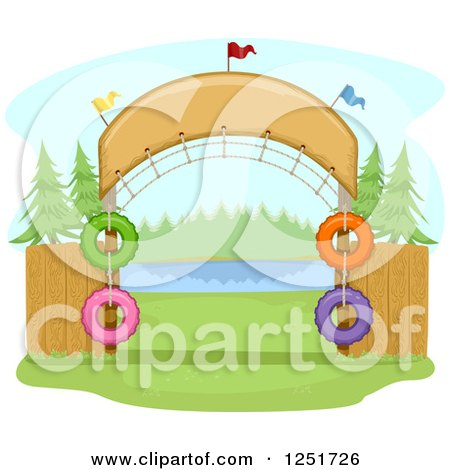 Clipart of an Arched Entrance to a Campground - Royalty Free Vector Illustration by BNP Design Studio