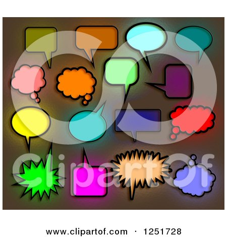 Clipart of Colorful Stained Glass Speech and Thought Bubbles - Royalty Free Illustration by Prawny