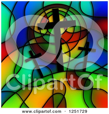 Clipart of a Stained Glass Calvary Design - Royalty Free Illustration by Prawny