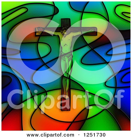 Clipart of a Stained Glass Jesus Christ on a Crucifix - Royalty Free Illustration by Prawny