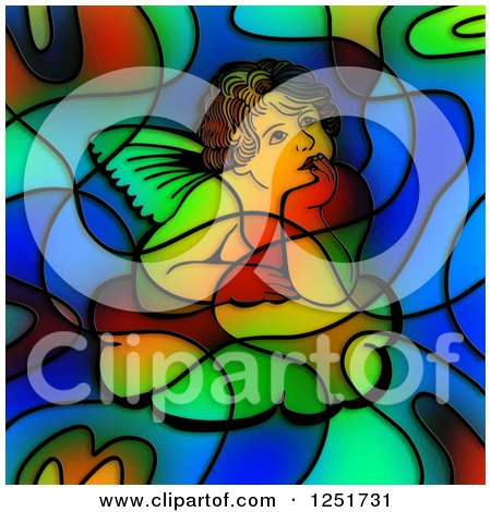 Clipart of a Stained Glass Thinking Cherub Design - Royalty Free Illustration by Prawny