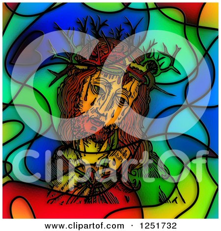 Clipart of a Stained Glass Design of Jesus and the Crown of Thorns - Royalty Free Illustration by Prawny