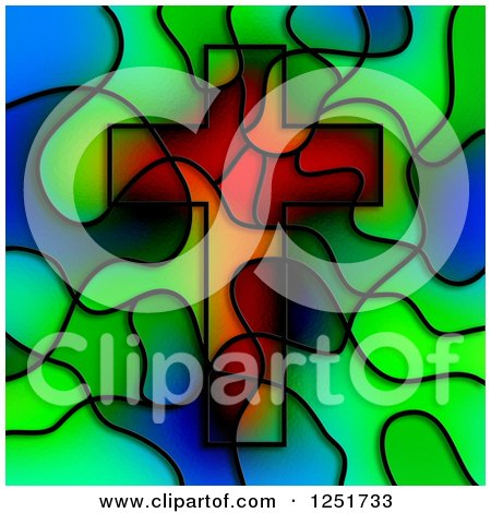 Clipart of a Stained Glass Christian Cross Design - Royalty Free Illustration by Prawny