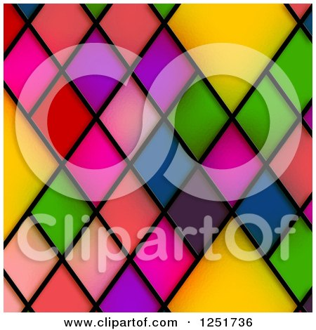 Clipart of a Background of Colorful Stained Glass Diamonds - Royalty Free Illustration by Prawny