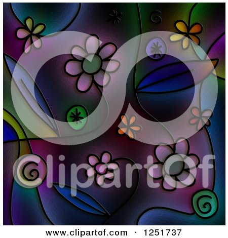 Clipart of a Stained Glass Background of Flowers - Royalty Free Illustration by Prawny