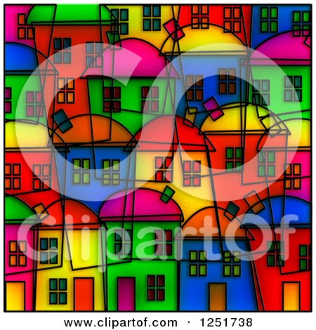 Clipart of a Bright Colored Village Stained Glass Background - Royalty Free Illustration by Prawny
