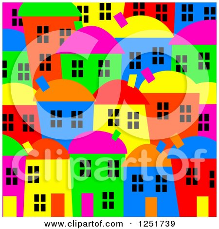 Clipart of a Bright Colored Village Background - Royalty Free Illustration by Prawny