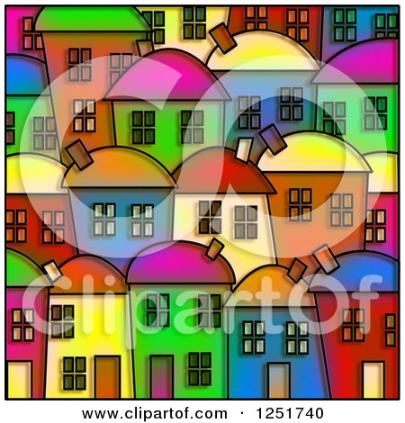 Clipart of a Stained Glass Design of Colorful Village Homes - Royalty Free Illustration by Prawny