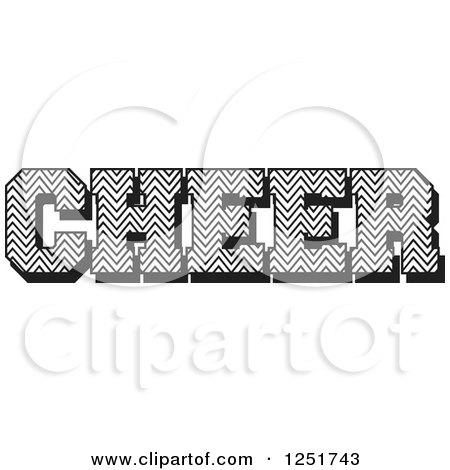 Clipart of Black and White Chevron Patterned Cheer Text - Royalty Free Vector Illustration by Johnny Sajem