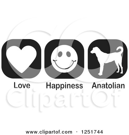 Clipart of Black and White Love Happiness and Anatolian Shepherd Dog Icons - Royalty Free Vector Illustration by Johnny Sajem