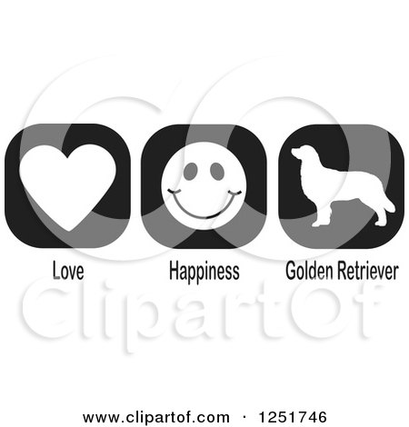 Clipart of Black and White Love Happiness and Golden Retriever Dog Icons - Royalty Free Vector Illustration by Johnny Sajem
