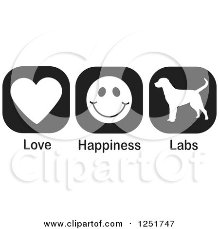 Clipart of Black and White Love Happiness and Labs Dog Icons - Royalty Free Vector Illustration by Johnny Sajem