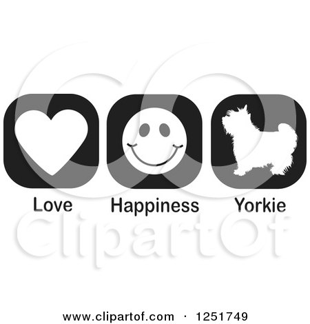 Clipart of Black and White Love Happiness and Yorkie Dog Icons - Royalty Free Vector Illustration by Johnny Sajem