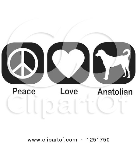 Clipart of Black and White Peace Love and Anatolian Shepherd Dog Icons - Royalty Free Vector Illustration by Johnny Sajem