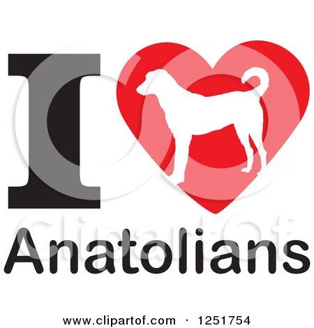 Clipart of an I Heart Anatolians Dog Design - Royalty Free Vector Illustration by Johnny Sajem