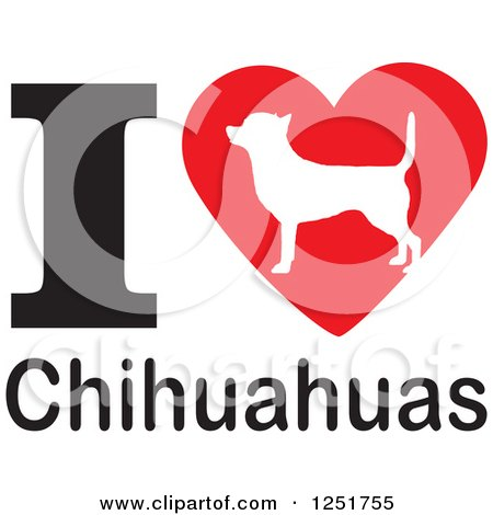 Clipart of an I Heart Chihuahuas Dog Design - Royalty Free Vector Illustration by Johnny Sajem