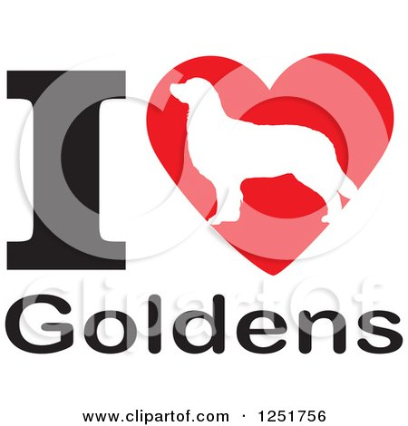 Clipart of an I Heart Goldens Dog Design - Royalty Free Vector Illustration by Johnny Sajem
