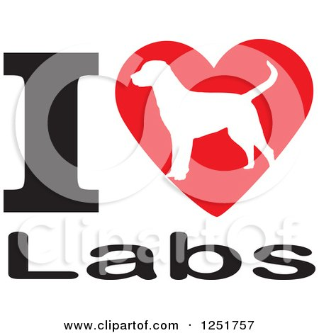 Clipart of an I Heart Labs Dog Design - Royalty Free Vector Illustration by Johnny Sajem
