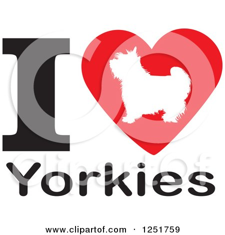 Clipart of an I Heart Yorkies Dog Design - Royalty Free Vector Illustration by Johnny Sajem
