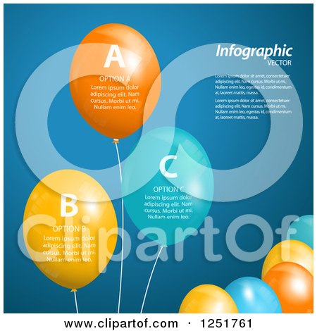Clipart of Colorful Party Balloons with Sample Text - Royalty Free Vector Illustration by elaineitalia