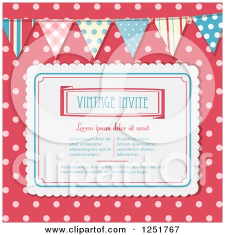 Clipart of a Vintage Invitation with Sample Text over Pink Polka Dots with a Bunting - Royalty Free Vector Illustration by elaineitalia
