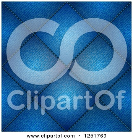 Clipart of a Diamond Blue Jean Pattern Background - Royalty Free Vector Illustration by elaineitalia