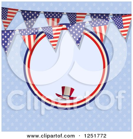 Clipart of a Blue Background with a Frame, Top Hat and American Flag Bunting Banner - Royalty Free Vector Illustration by elaineitalia