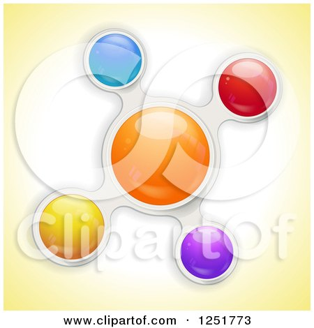 Clipart of a Colorful Metaball Bubble on Yellow - Royalty Free Vector Illustration by elaineitalia