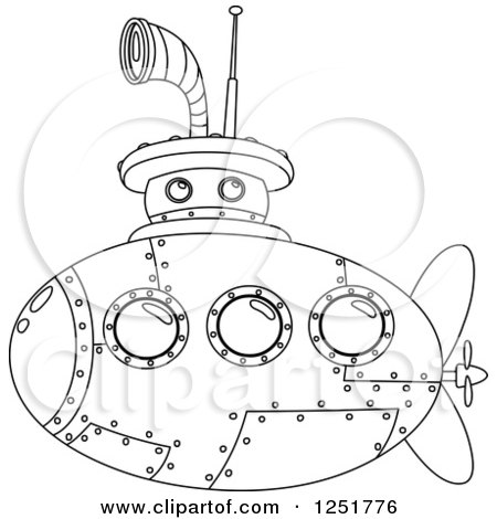 Clipart of a Black and White Submarine - Royalty Free Vector Illustration by yayayoyo