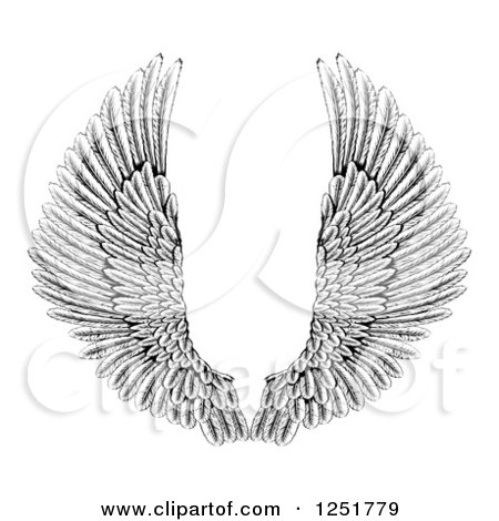 Clipart of Black and White Spread Feathered Angel Wings - Royalty Free Vector Illustration by AtStockIllustration