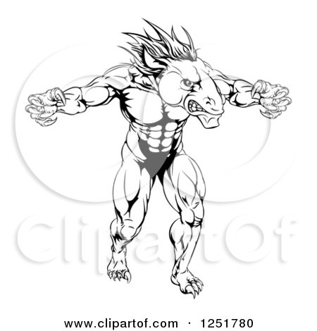 Clipart of a Black and White Muscular Fierce Horse Mascot with Claws - Royalty Free Vector Illustration by AtStockIllustration