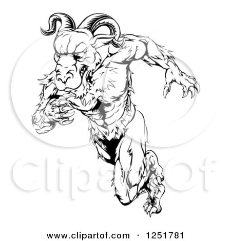 Clipart of a Black and White Muscular Ram Running Upright - Royalty Free Vector Illustration by AtStockIllustration