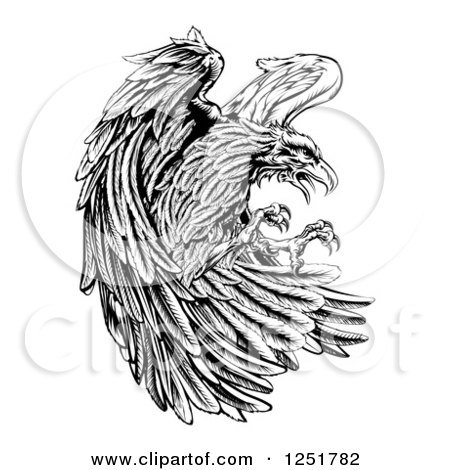 Clipart of a Fierce Black and White Eagle Attacking - Royalty Free Vector Illustration by AtStockIllustration