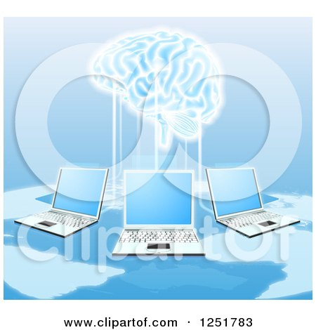 Clipart of a Network of Laptops Connected to a 3d Brain - Royalty Free Vector Illustration by AtStockIllustration