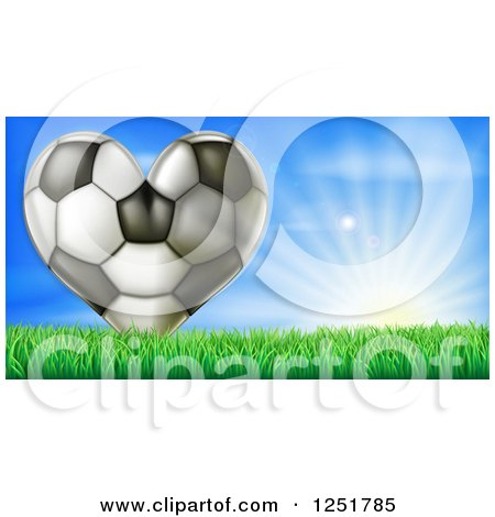 Clipart of a 3d Heart Soccer Ball in Grass over Sunshine - Royalty Free Vector Illustration by AtStockIllustration