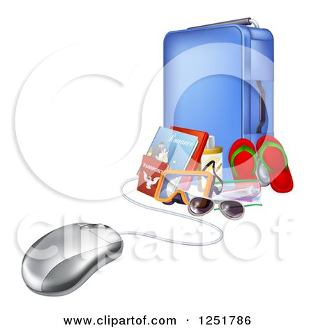 Clipart of a 3d Computer Mouse Connected to Luggage and Travel Items - Royalty Free Vector Illustration by AtStockIllustration