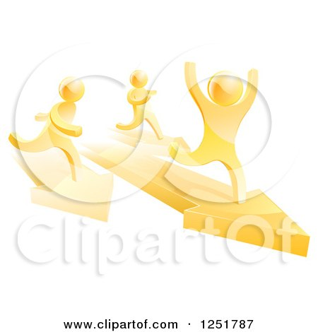 Clipart of a 3d Gold Man Winning a Race on Arrows - Royalty Free Vector Illustration by AtStockIllustration
