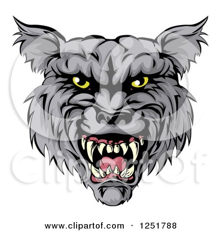 Clipart of a Snarling Wolf Mascot Head - Royalty Free Vector Illustration by AtStockIllustration